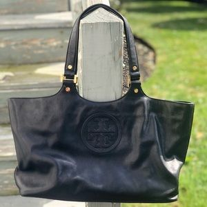 Authentic Tory Burch Leather Tote Bag Black